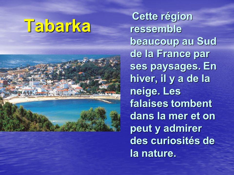 Tabarka Tabarka Cette région ressemble beaucoup au Sud de la France par ses paysages. En hiver, il y a de la neige. Les falaises tombent dans la mer e