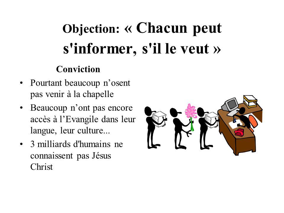 Objection: « Chacun peut s'informer, s'il le veut » Conviction Pourtant beaucoup nosent pas venir à la chapelle Beaucoup nont pas encore accès à lEvan