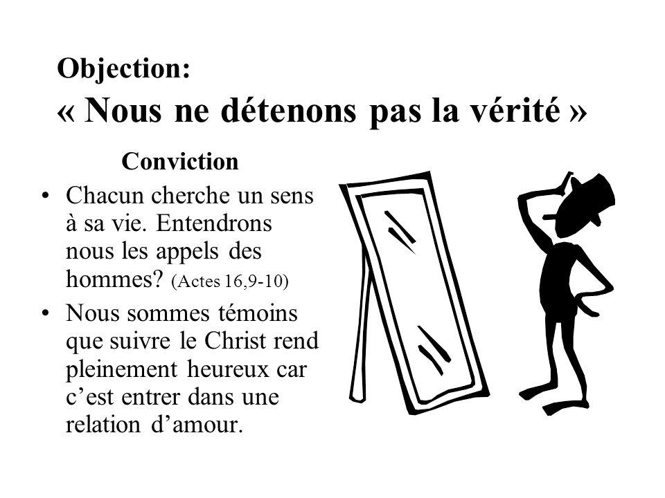 Objection: « Nous ne détenons pas la vérité » Conviction Chacun cherche un sens à sa vie. Entendrons nous les appels des hommes? (Actes 16,9-10) Nous