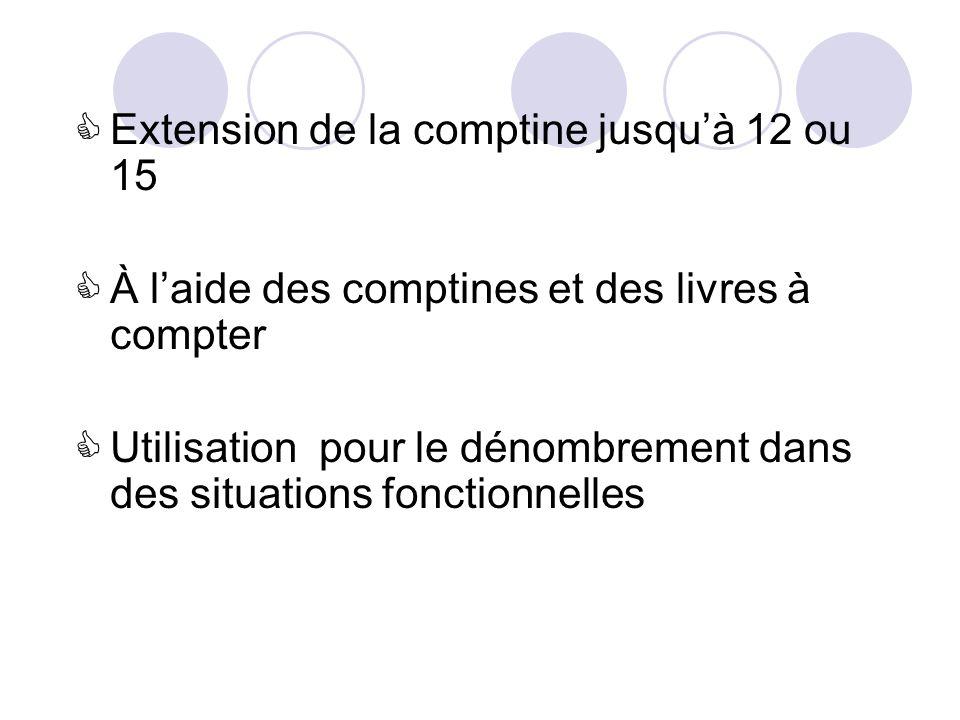Extension de la comptine jusquà 12 ou 15 À laide des comptines et des livres à compter Utilisation pour le dénombrement dans des situations fonctionnelles
