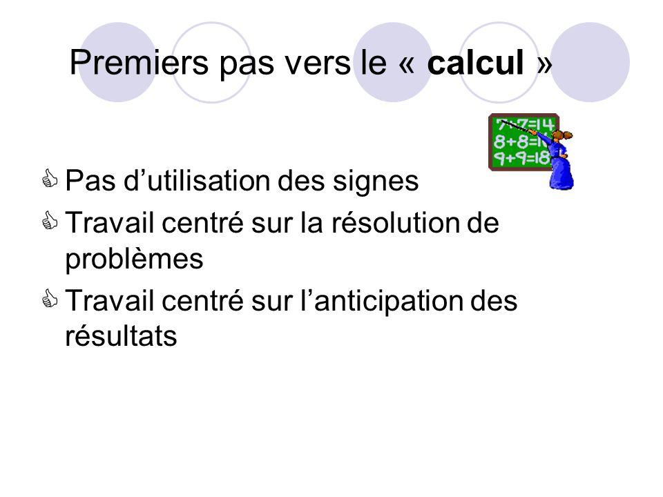 Premiers pas vers le « calcul » Pas dutilisation des signes Travail centré sur la résolution de problèmes Travail centré sur lanticipation des résultats