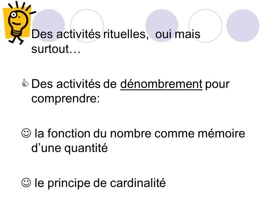 Des activités rituelles, oui mais surtout… Des activités de dénombrement pour comprendre: la fonction du nombre comme mémoire dune quantité le principe de cardinalité