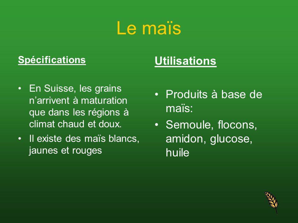 Spécifications En Suisse, les grains narrivent à maturation que dans les régions à climat chaud et doux. Il existe des maïs blancs, jaunes et rouges U