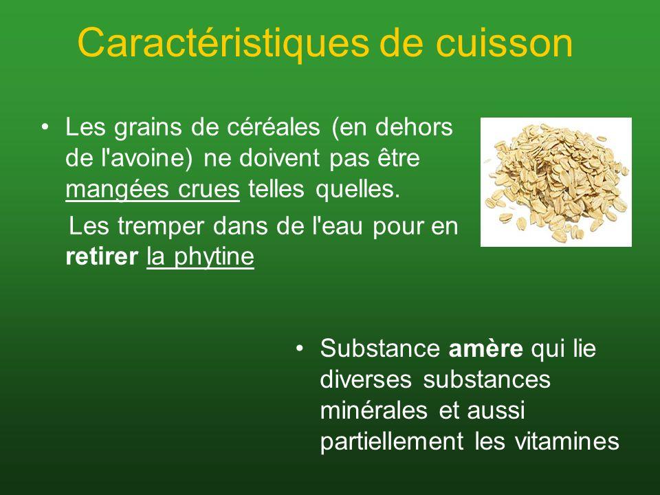 Caractéristiques de cuisson Les grains de céréales (en dehors de l'avoine) ne doivent pas être mangées crues telles quelles. Les tremper dans de l'eau