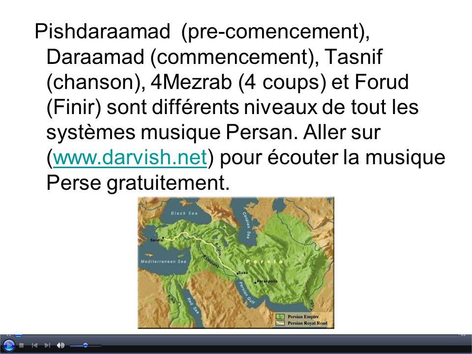 Pishdaraamad (pre-comencement), Daraamad (commencement), Tasnif (chanson), 4Mezrab (4 coups) et Forud (Finir) sont différents niveaux de tout les syst