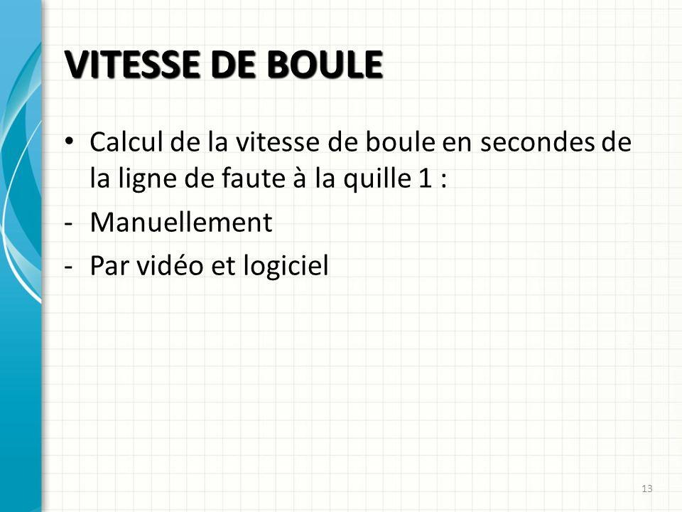 VITESSE DE BOULE 13 Calcul de la vitesse de boule en secondes de la ligne de faute à la quille 1 : -Manuellement -Par vidéo et logiciel