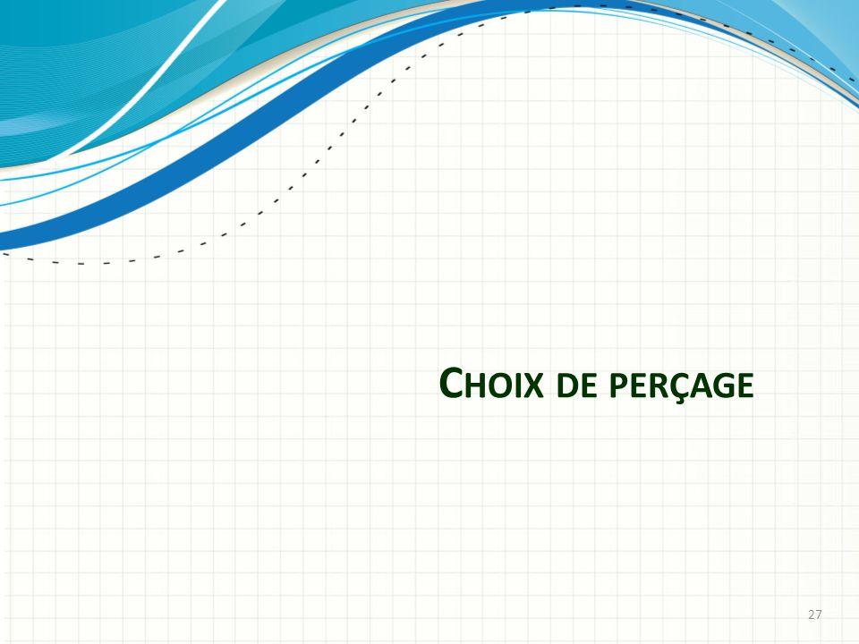 C HOIX DE PERÇAGE 27