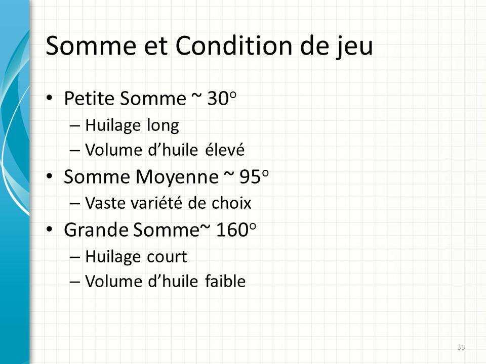 Somme et Condition de jeu Petite Somme ~ 30 o – Huilage long – Volume dhuile élevé Somme Moyenne ~ 95 o – Vaste variété de choix Grande Somme~ 160 o –