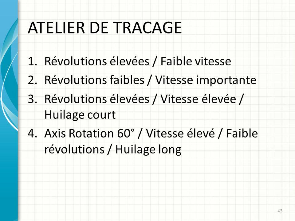 ATELIER DE TRACAGE 1.Révolutions élevées / Faible vitesse 2.Révolutions faibles / Vitesse importante 3.Révolutions élevées / Vitesse élevée / Huilage
