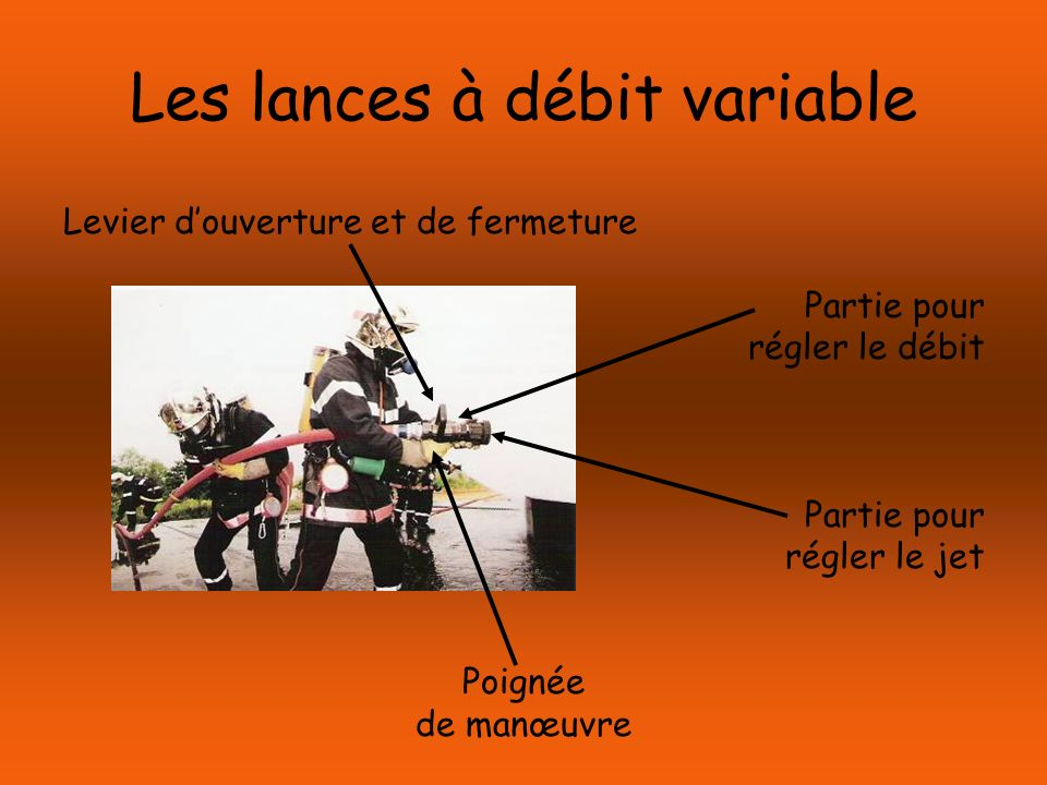Les lances à débit variable Levier douverture et de fermeture Partie pour régler le débit Partie pour régler le jet Poignée de manœuvre