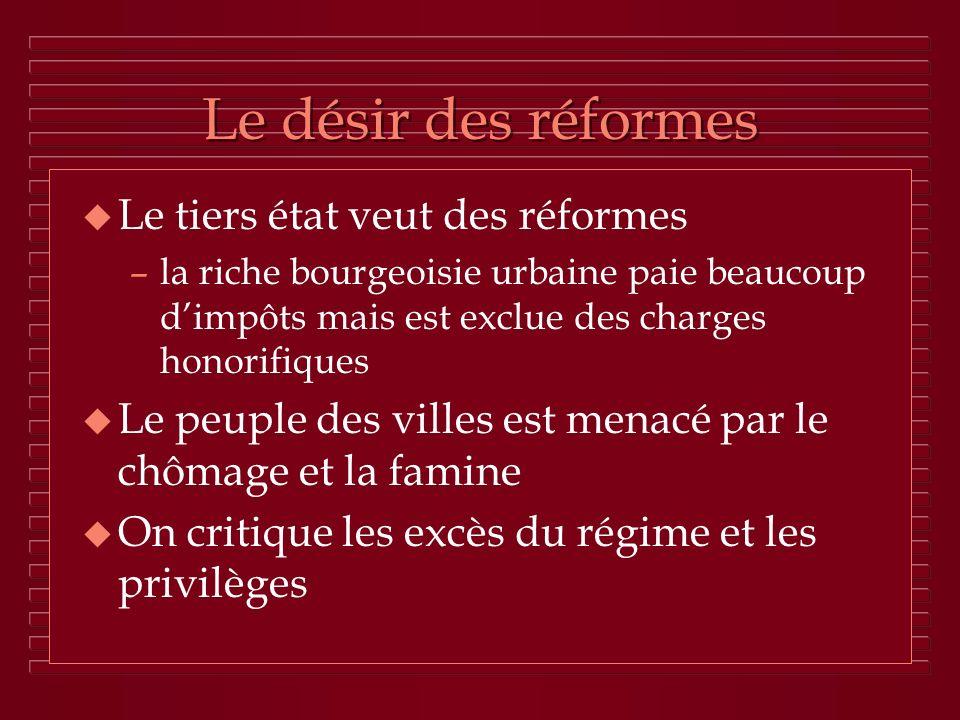 Le désir des réformes u Le tiers état veut des réformes –la riche bourgeoisie urbaine paie beaucoup dimpôts mais est exclue des charges honorifiques u
