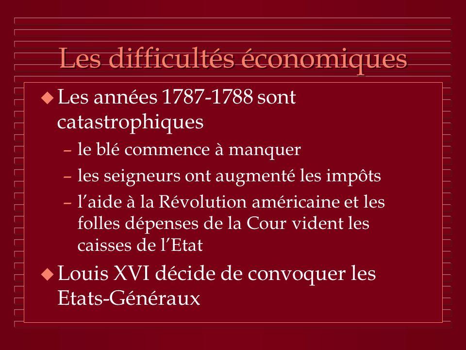 Les difficultés économiques u Les années 1787-1788 sont catastrophiques –le blé commence à manquer –les seigneurs ont augmenté les impôts –laide à la