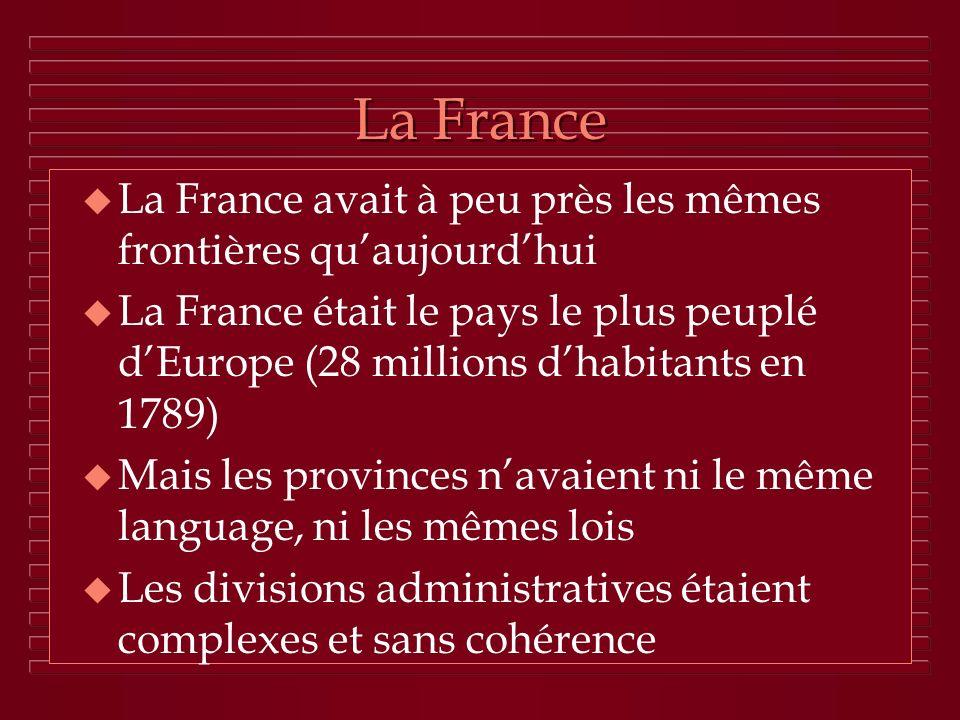 La France u La France avait à peu près les mêmes frontières quaujourdhui u La France était le pays le plus peuplé dEurope (28 millions dhabitants en 1