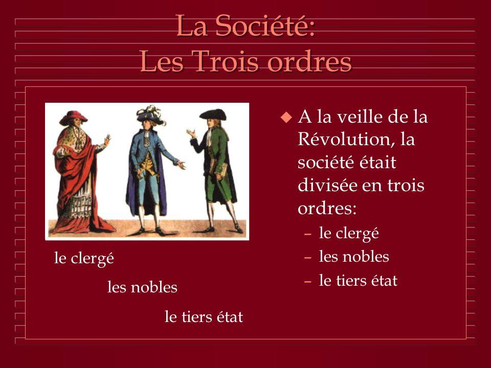 La Société: Les Trois ordres u A la veille de la Révolution, la société était divisée en trois ordres: –le clergé –les nobles –le tiers état le clergé