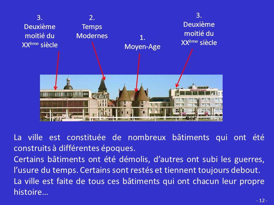 Classe les bâtiments dans lordre de leur construction.