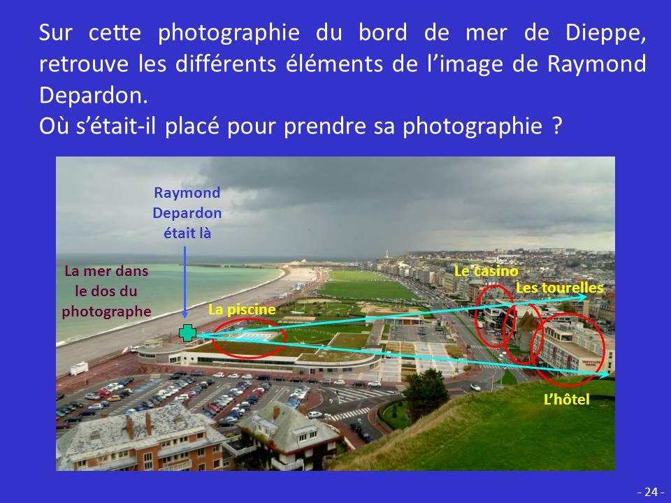 En fait, Raymond Depardon na pas photographié ce que tout le monde prend en photo ici ! Voici ce quil y avait dans le dos du photographe : La mer ! -