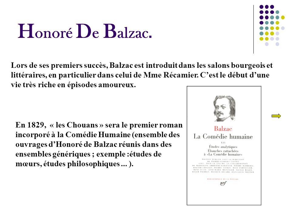 H onoré D e B alzac. En 1829, « les Chouans » sera le premier roman incorporé à la Comédie Humaine (ensemble des ouvrages dHonoré de Balzac réunis dan
