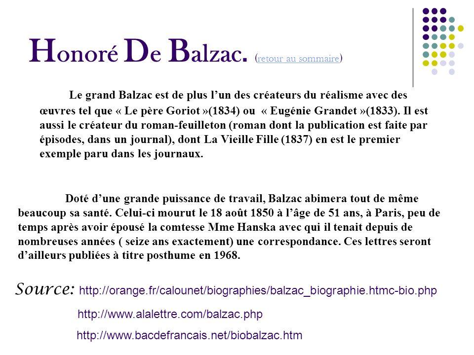 H onoré D e B alzac. ( retour au sommaire ) retour au sommaire Doté dune grande puissance de travail, Balzac abimera tout de même beaucoup sa santé. C