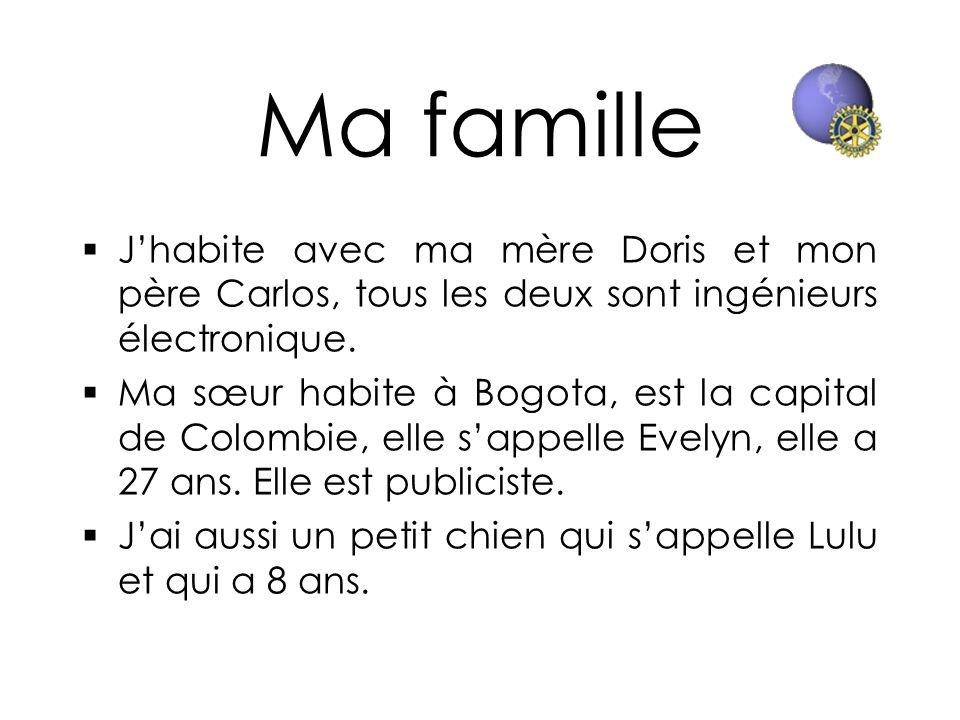 Ma famille Jhabite avec ma mère Doris et mon père Carlos, tous les deux sont ingénieurs électronique. Ma sœur habite à Bogota, est la capital de Colom