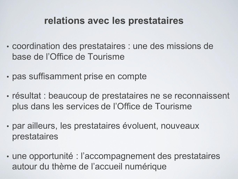 coordination des prestataires : une des missions de base de lOffice de Tourisme pas suffisamment prise en compte résultat : beaucoup de prestataires n