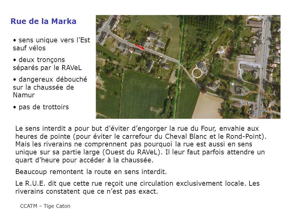 Rue de la Marka sens unique vers lEst sauf vélos deux tronçons séparés par le RAVeL dangereux débouché sur la chaussée de Namur pas de trottoirs Le se