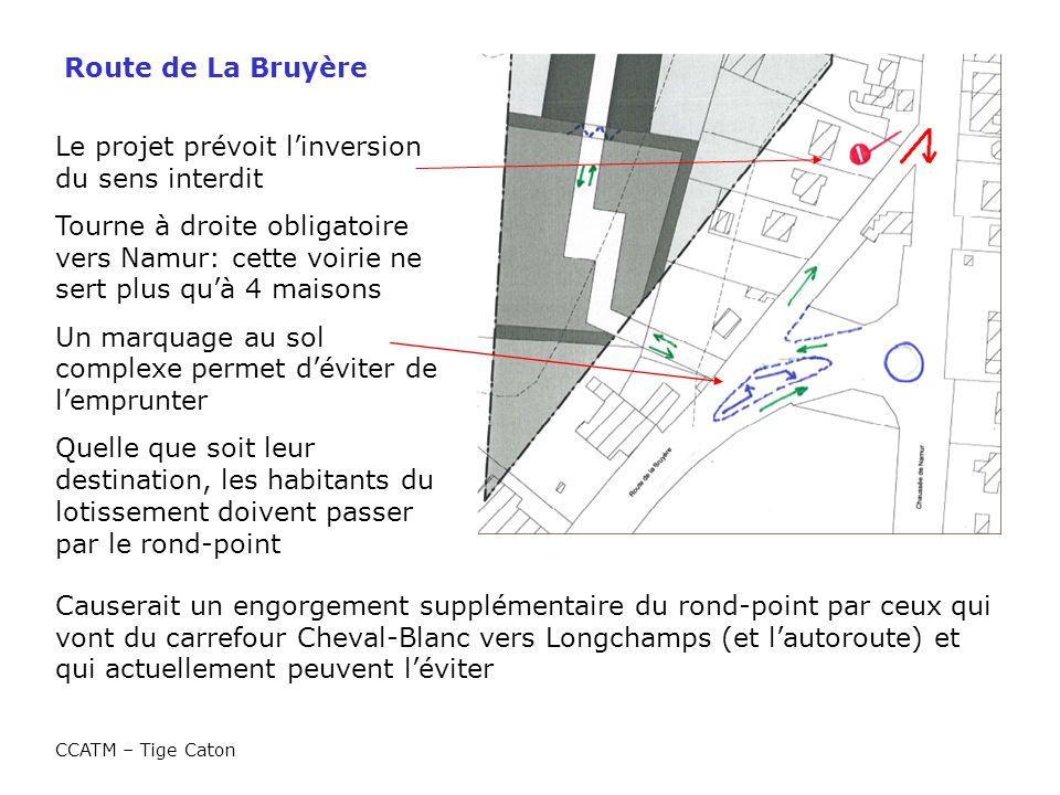 Route de La Bruyère CCATM – Tige Caton Le projet prévoit linversion du sens interdit Tourne à droite obligatoire vers Namur: cette voirie ne sert plus