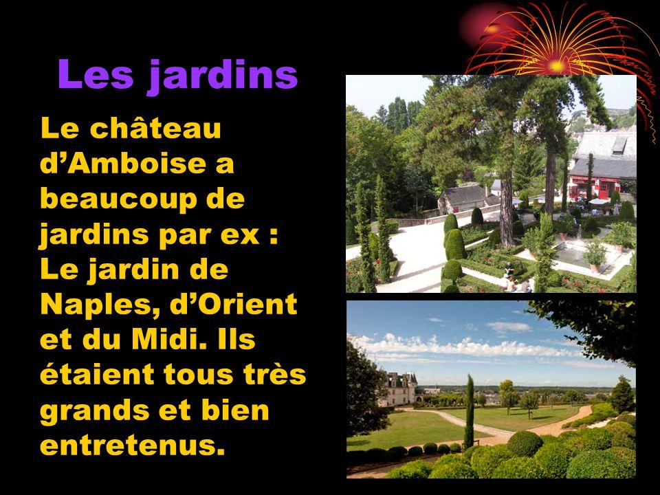Les jardins Le château dAmboise a beaucoup de jardins par ex : Le jardin de Naples, dOrient et du Midi.