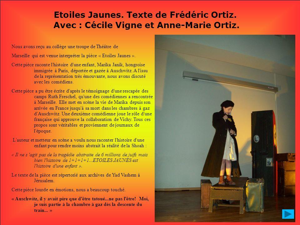 Etoiles Jaunes. Texte de Frédéric Ortiz. Avec : Cécile Vigne et Anne-Marie Ortiz. Nous avons reçu au collège une troupe de Théâtre de Marseille qui es