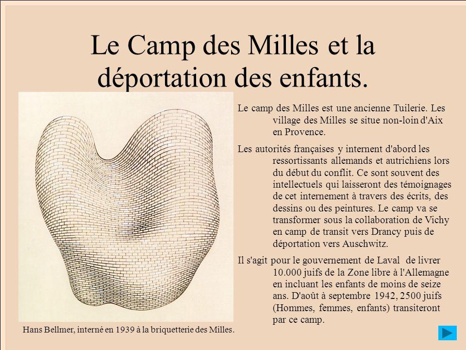 Le Camp des Milles et la déportation des enfants. Le camp des Milles est une ancienne Tuilerie. Les village des Milles se situe non-loin d'Aix en Prov