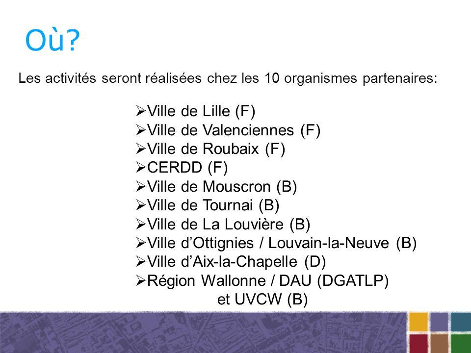 Où? Les activités seront réalisées chez les 10 organismes partenaires: Ville de Lille (F) Ville de Valenciennes (F) Ville de Roubaix (F) CERDD (F) Vil