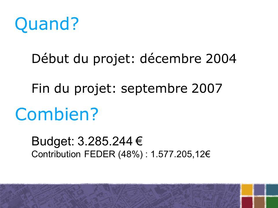 Quand. Début du projet: décembre 2004 Fin du projet: septembre 2007 Combien.