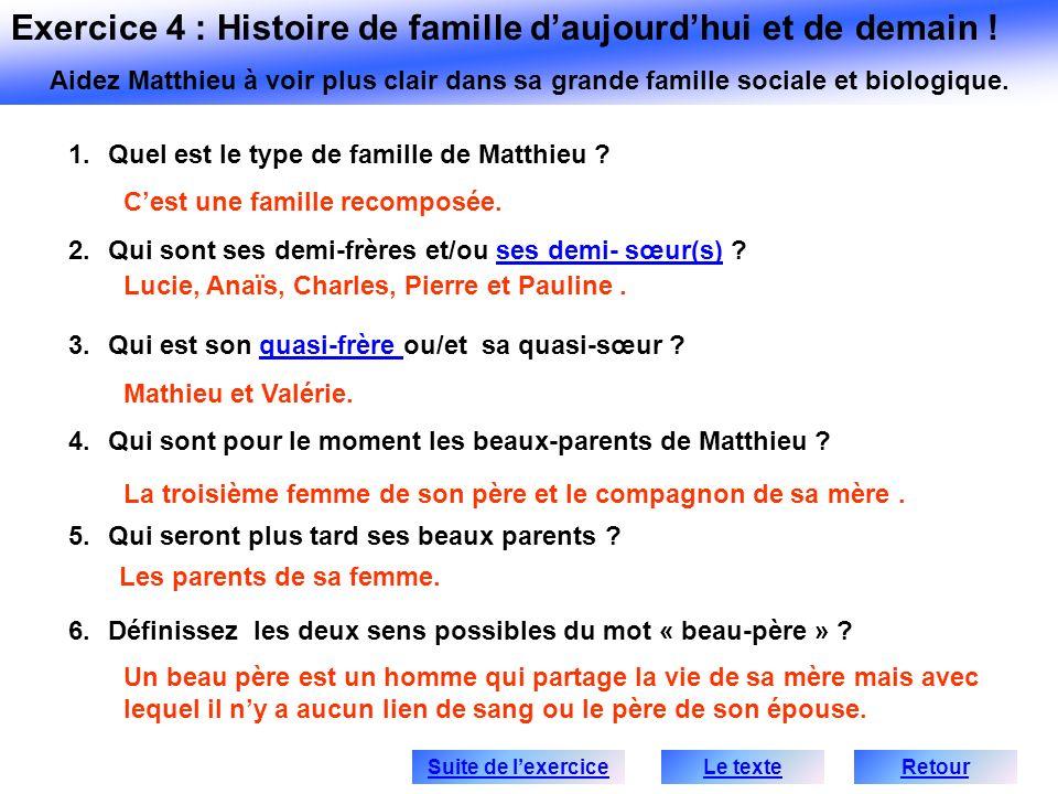1.Quel est le type de famille de Matthieu ? 2.Qui sont ses demi-frères et/ou ses demi- sœur(s) ?ses demi- sœur(s) 3.Qui est son quasi-frère ou/et sa q