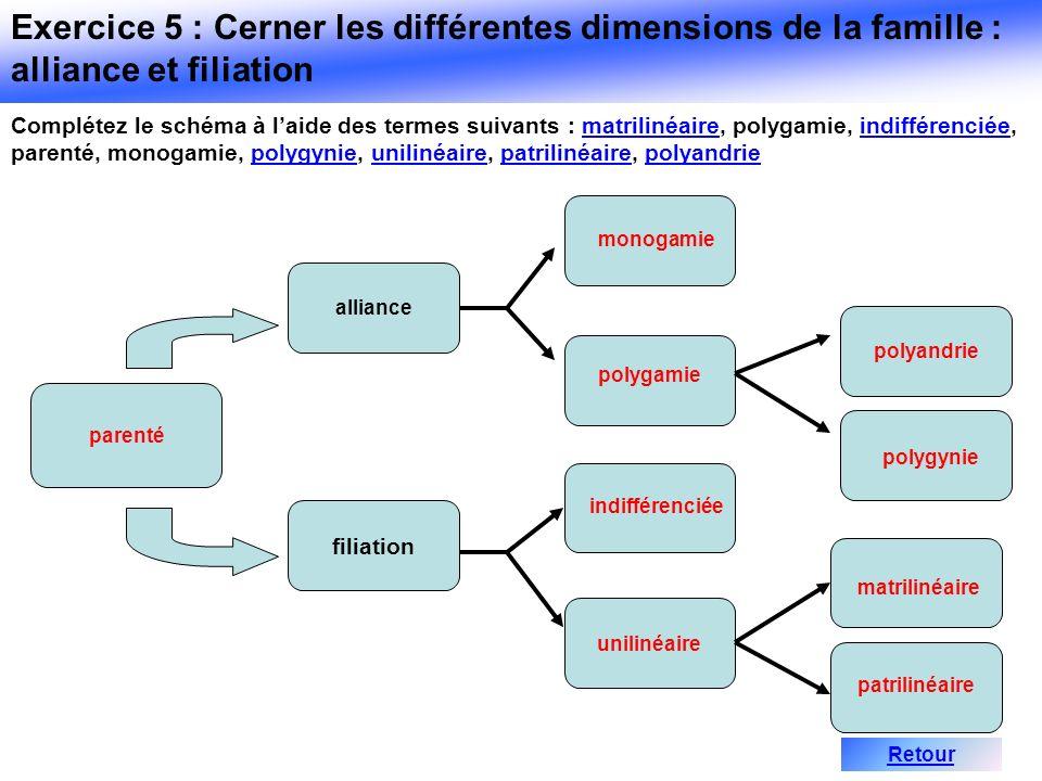 Complétez le schéma à laide des termes suivants : matrilinéaire, polygamie, indifférenciée, parenté, monogamie, polygynie, unilinéaire, patrilinéaire,