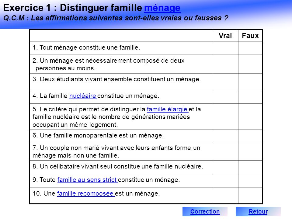 VraiFaux 1. Tout ménage constitue une famille. 2. Un ménage est nécessairement composé de deux personnes au moins. 3. Deux étudiants vivant ensemble c