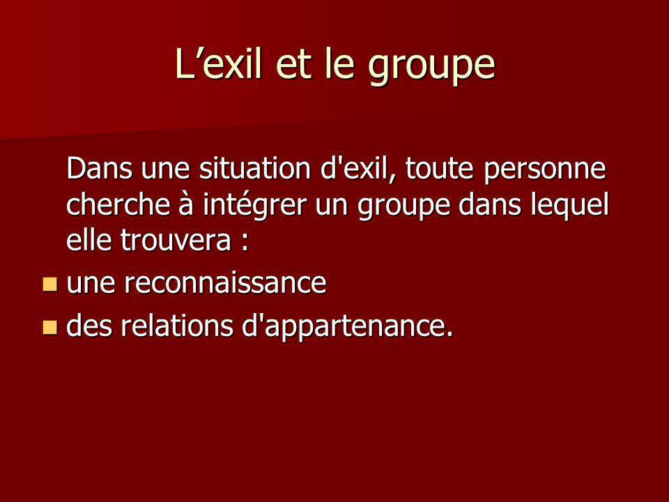 Lexil et le groupe Dans une situation d exil, toute personne cherche à intégrer un groupe dans lequel elle trouvera : une reconnaissance une reconnaissance des relations d appartenance.