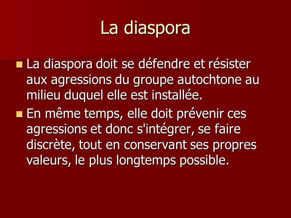 La diaspora La diaspora doit se défendre et résister aux agressions du groupe autochtone au milieu duquel elle est installée.