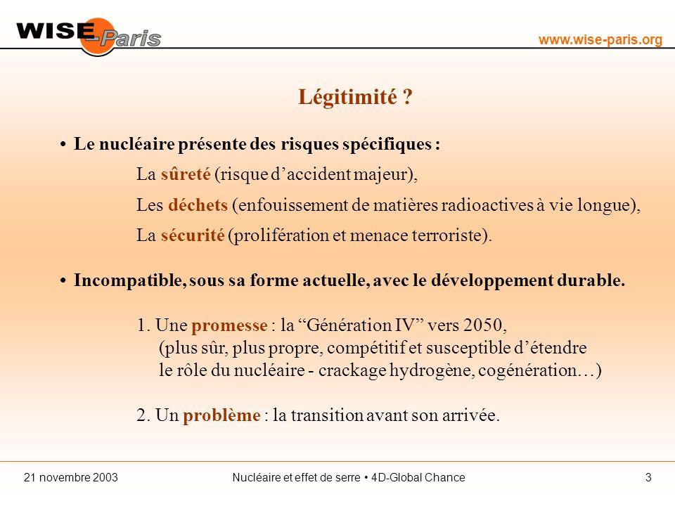 www.wise-paris.org Nucléaire et effet de serre 4D-Global Chance21 novembre 20033 Légitimité .