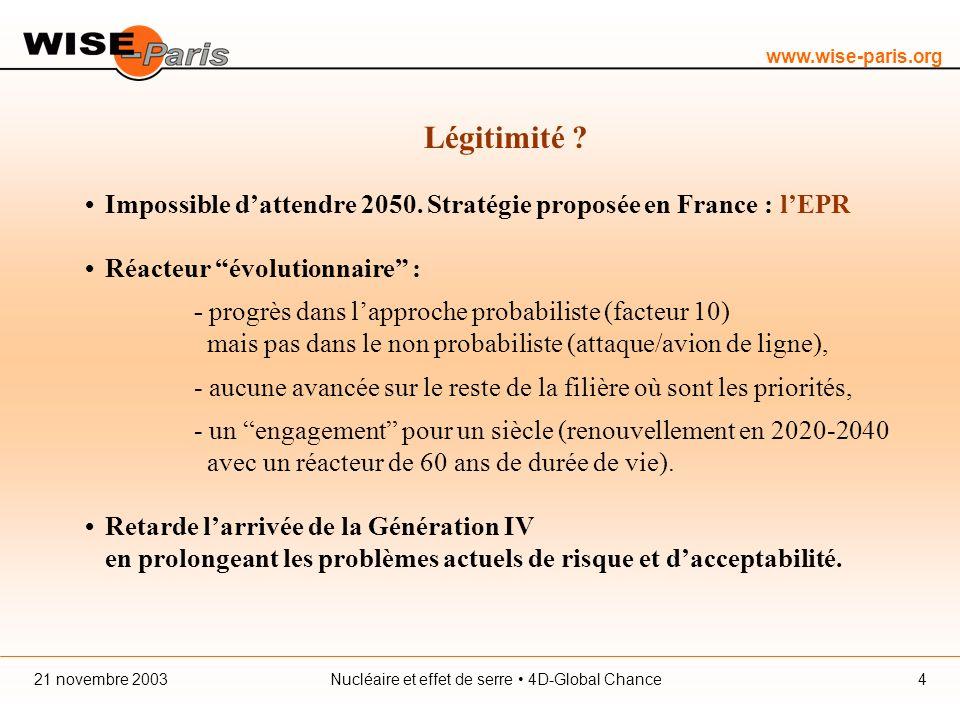 www.wise-paris.org Nucléaire et effet de serre 4D-Global Chance21 novembre 20034 Légitimité .