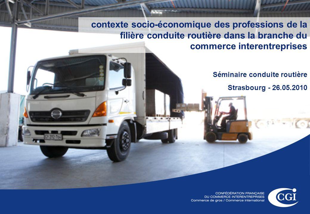 1 contexte socio-économique des professions de la filière conduite routière dans la branche du commerce interentreprises Séminaire conduite routière Strasbourg - 26.05.2010