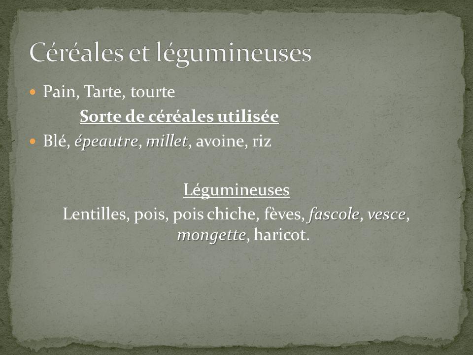 Pain, Tarte, tourte Sorte de céréales utilisée épeautremillet Blé, épeautre, millet, avoine, riz Légumineuses fascolevesce mongette Lentilles, pois, p
