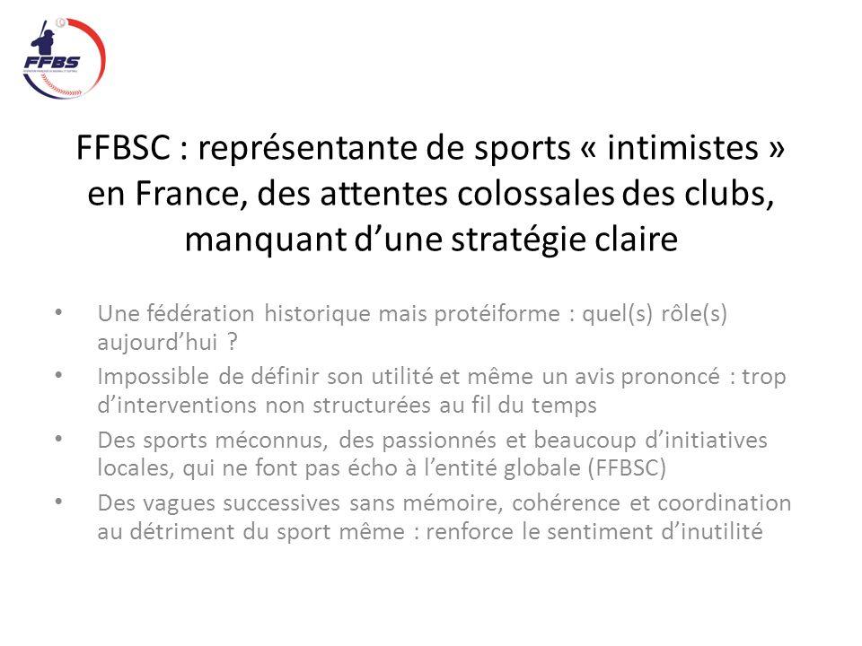 FFBSC : représentante du haut niveau, loin du terrain et des préoccupations du sport même… Trop préoccupée par le haut niveau et/ou les gros clubs Trop de licenciés sont « ventre mou » cad que finalement ils ne savent « quoi » penser de la FFBBSC : invisible et action non perçue .