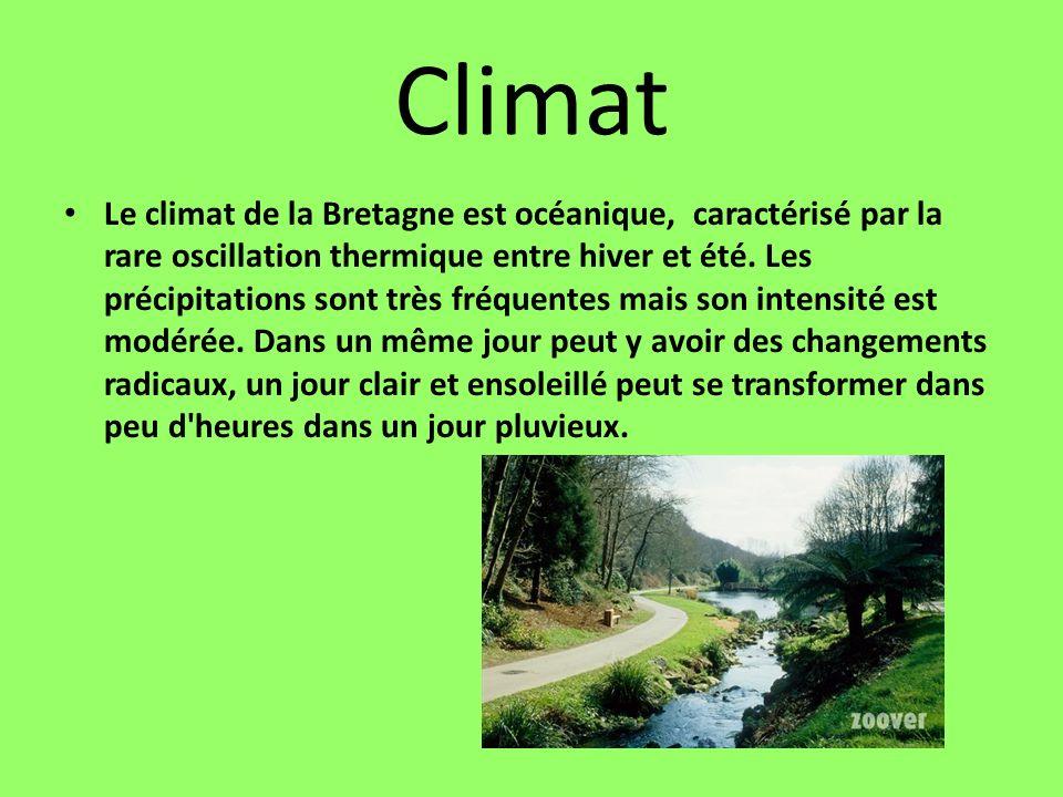 Climat Le climat de la Bretagne est océanique, caractérisé par la rare oscillation thermique entre hiver et été. Les précipitations sont très fréquent