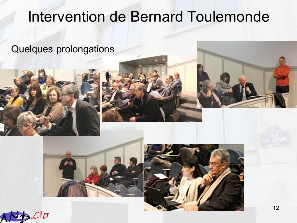 12 Intervention de Bernard Toulemonde Quelques prolongations