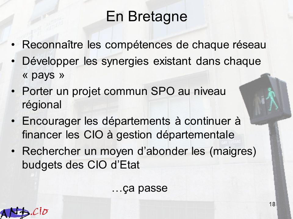 18 En Bretagne Reconnaître les compétences de chaque réseau Développer les synergies existant dans chaque « pays » Porter un projet commun SPO au nive