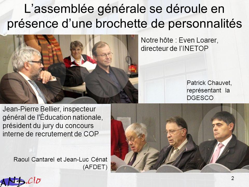 2 Lassemblée générale se déroule en présence dune brochette de personnalités Notre hôte : Even Loarer, directeur de lINETOP Jean-Pierre Bellier, inspe