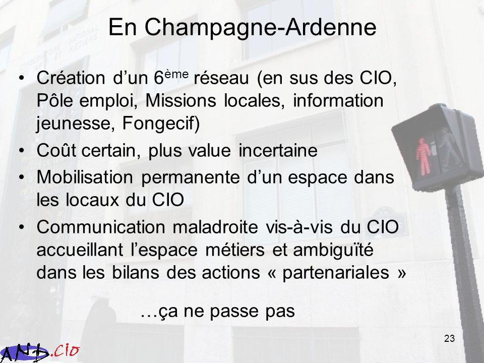 23 En Champagne-Ardenne Création dun 6 ème réseau (en sus des CIO, Pôle emploi, Missions locales, information jeunesse, Fongecif) Coût certain, plus v