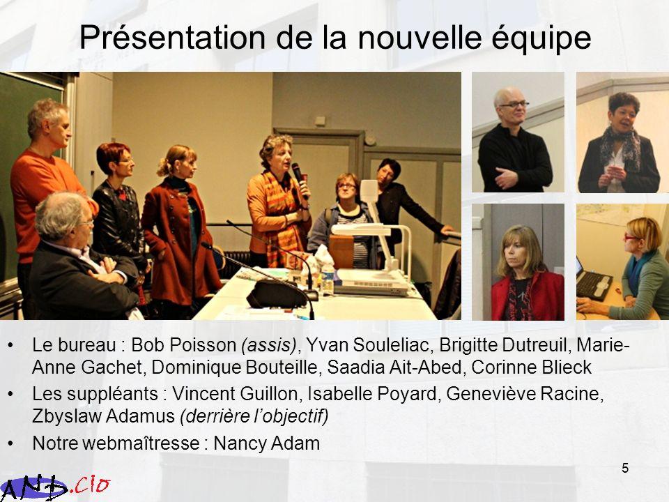 5 Présentation de la nouvelle équipe Le bureau : Bob Poisson (assis), Yvan Souleliac, Brigitte Dutreuil, Marie- Anne Gachet, Dominique Bouteille, Saad