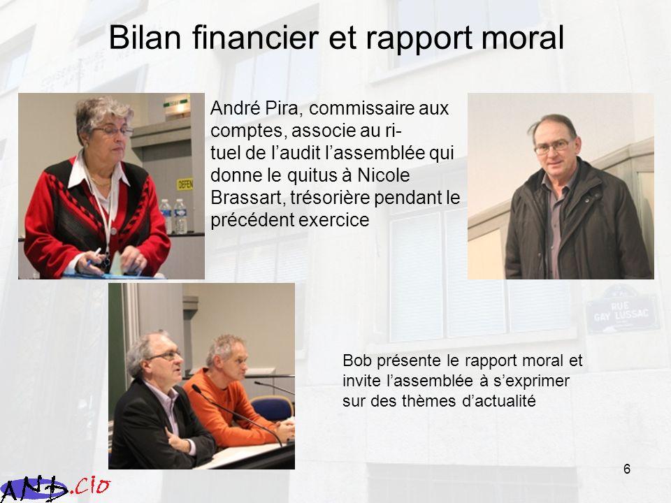 6 Bilan financier et rapport moral André Pira, commissaire aux comptes, associe au ri- tuel de laudit lassemblée qui donne le quitus à Nicole Brassart
