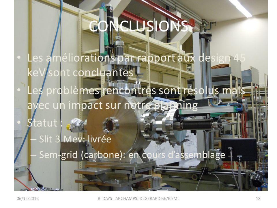 CONCLUSIONS Les améliorations par rapport aux design 45 keV sont concluantes Les problèmes rencontrés sont résolus mais avec un impact sur notre plann