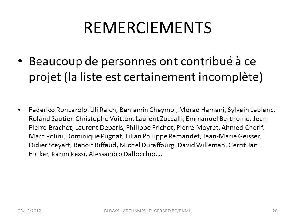 REMERCIEMENTS Beaucoup de personnes ont contribué à ce projet (la liste est certainement incomplète) Federico Roncarolo, Uli Raich, Benjamin Cheymol,